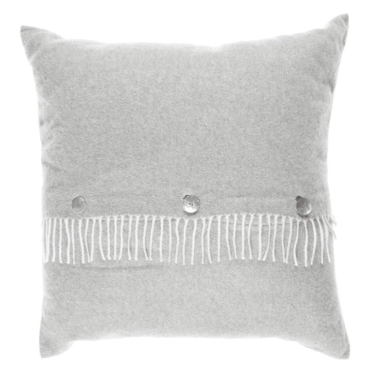Gianfranco Ferré Sindia Silver Cushion in Cashmere For Sale