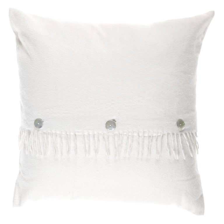 Gianfranco Ferré Sindia White Cushion in Cashmere For Sale