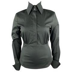 GIANFRANCO FERRE Size 10 Black Corset Waistband Blouse