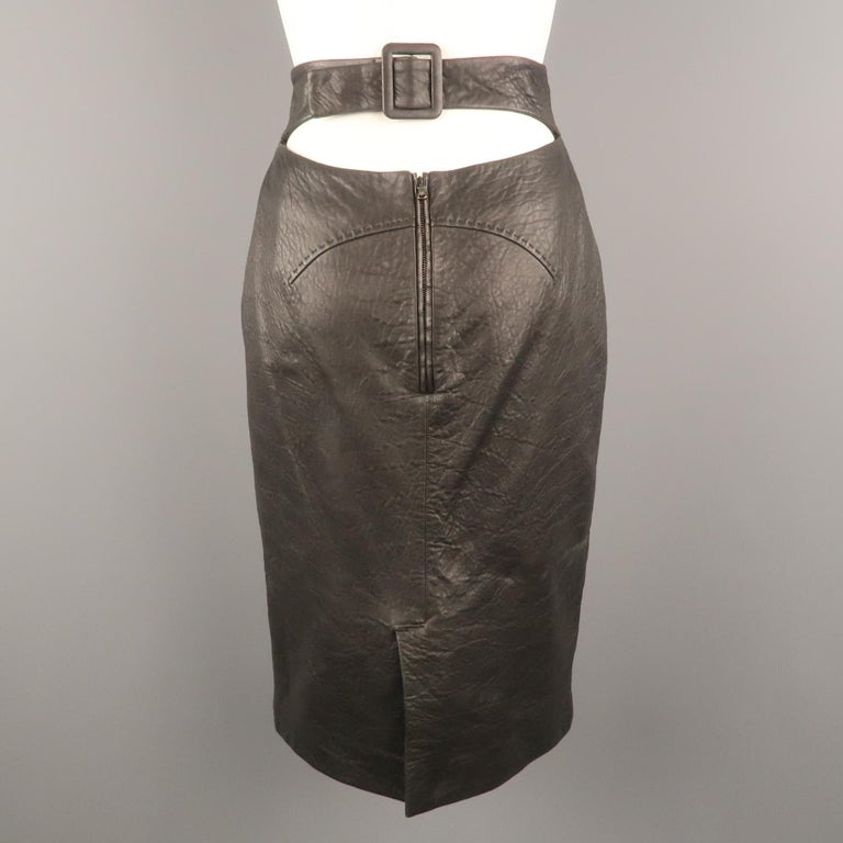 Women's GIANFRANCO FERRE Size 4 Black Textured Leather Belted Cutout Back Pencil Skirt For Sale