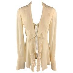GIANFRANCO FERRE Size 4 Cream Silk Ruffled Corset Long Sleeve Blouse