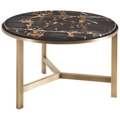 Gianfranco Ferré Home Small Ascott Side Table in Metal and Marble top
