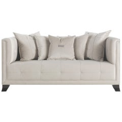 Gianfranco Ferré Barney 2-Seater Sofa in Clear Grey Winter Cotton Upholstery
