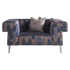 Gianfranco Ferré Home Soho Armchair in 1950s Blue Jacquard
