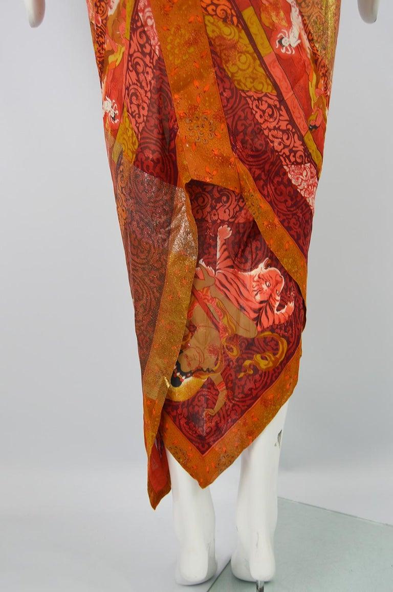 Gianfranco Ferre Spring 1994 Runway Documented Silk & Gold Lurex Maxi Dress For Sale 6