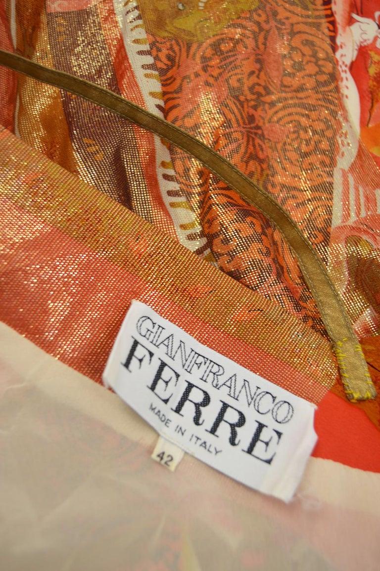 Gianfranco Ferre Spring 1994 Runway Documented Silk & Gold Lurex Maxi Dress For Sale 7