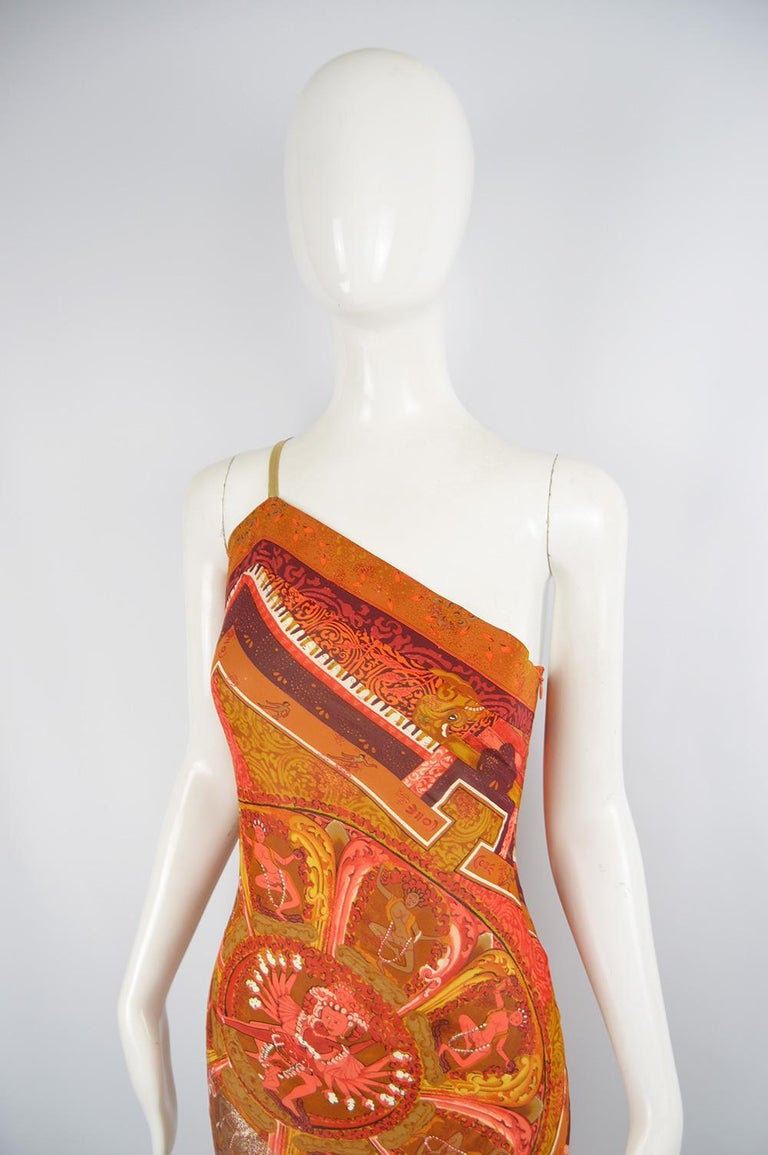 Gianfranco Ferre Spring 1994 Runway Documented Silk & Gold Lurex Maxi Dress In Excellent Condition For Sale In Doncaster, South Yorkshire