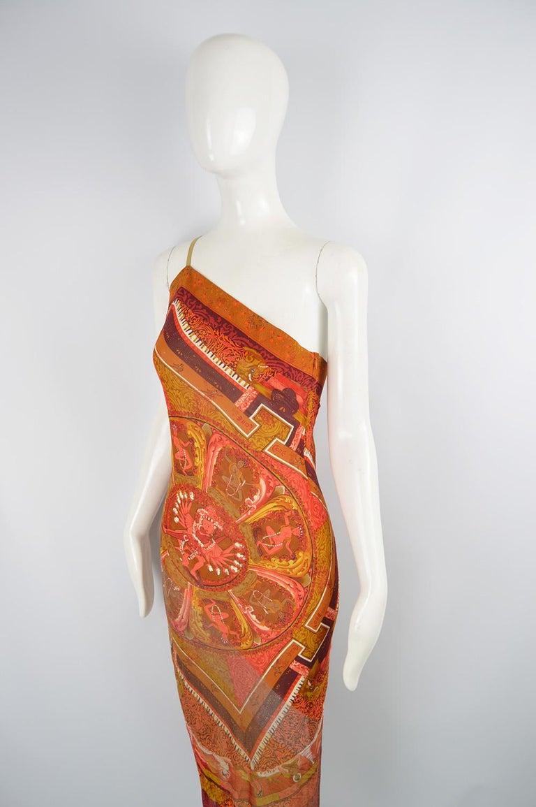 Women's Gianfranco Ferre Spring 1994 Runway Documented Silk & Gold Lurex Maxi Dress For Sale