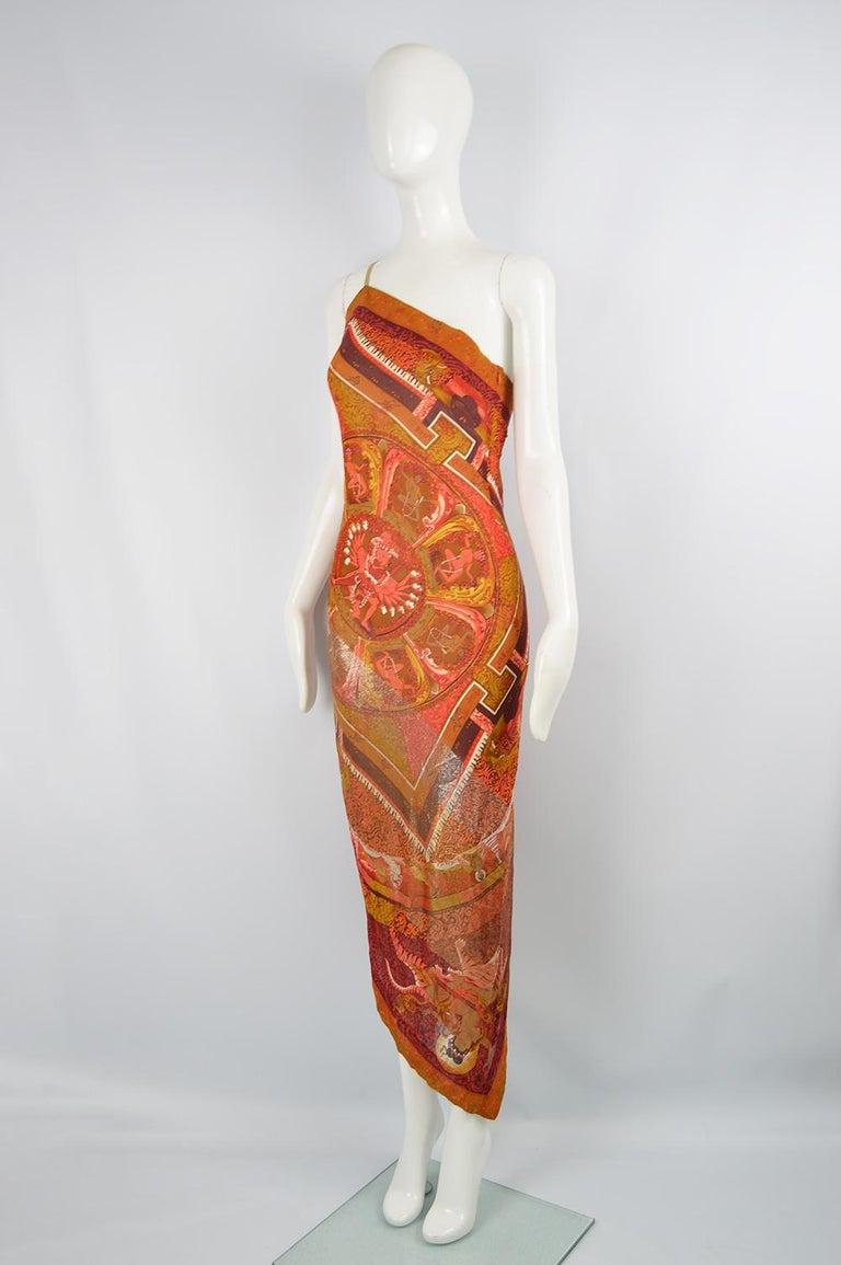Gianfranco Ferre Spring 1994 Runway Documented Silk & Gold Lurex Maxi Dress For Sale 1