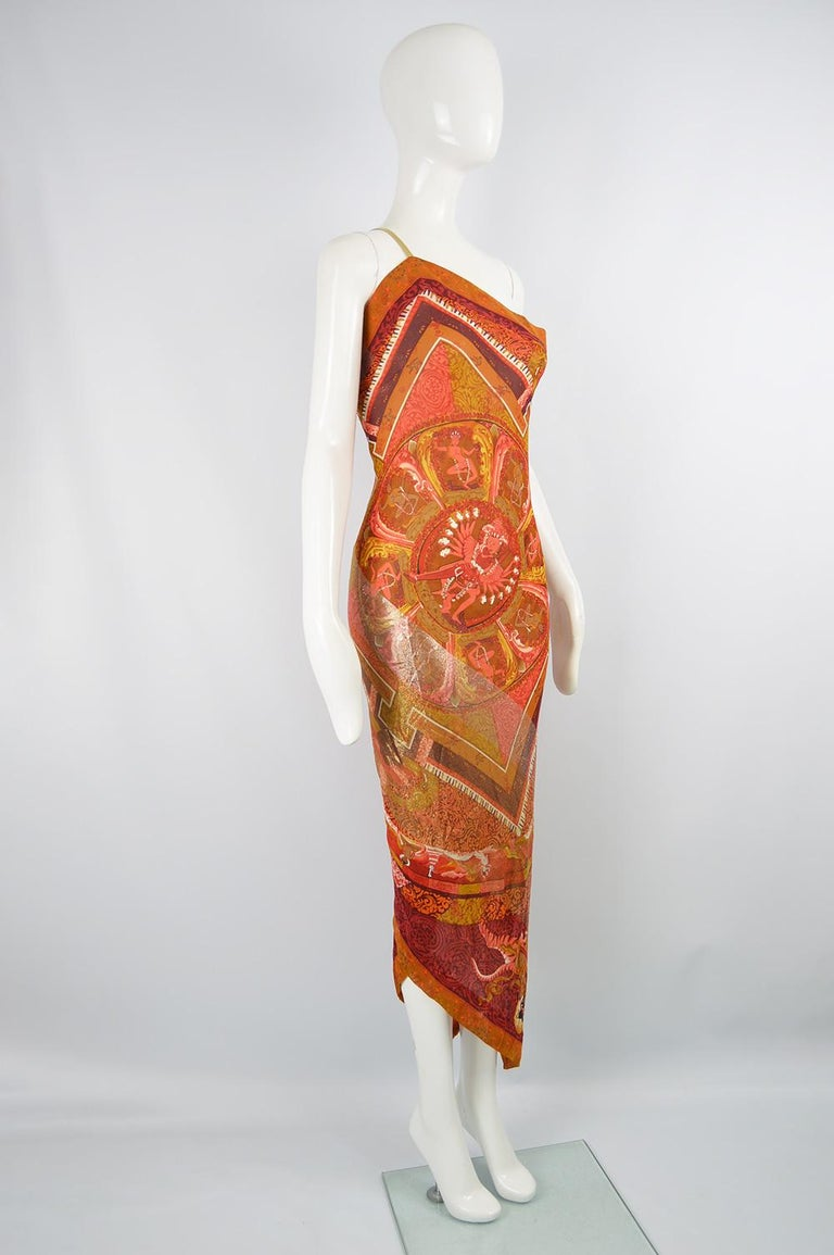 Gianfranco Ferre Spring 1994 Runway Documented Silk & Gold Lurex Maxi Dress For Sale 3
