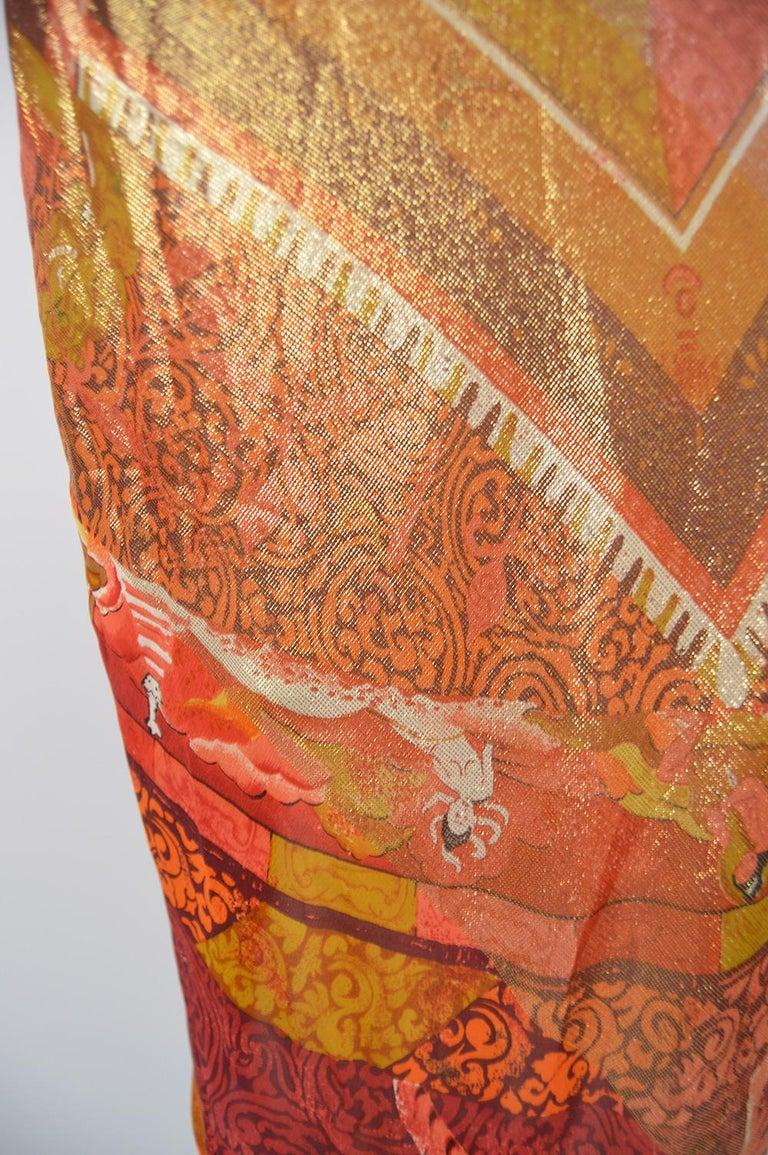 Gianfranco Ferre Spring 1994 Runway Documented Silk & Gold Lurex Maxi Dress For Sale 4