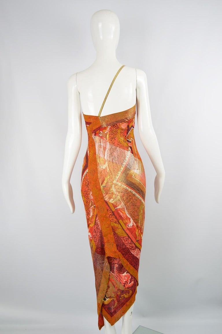 Gianfranco Ferre Spring 1994 Runway Documented Silk & Gold Lurex Maxi Dress For Sale 5