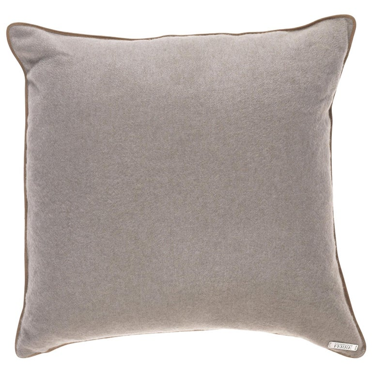 Gianfranco Ferré Tessa Beige Cushion in Cashmere For Sale