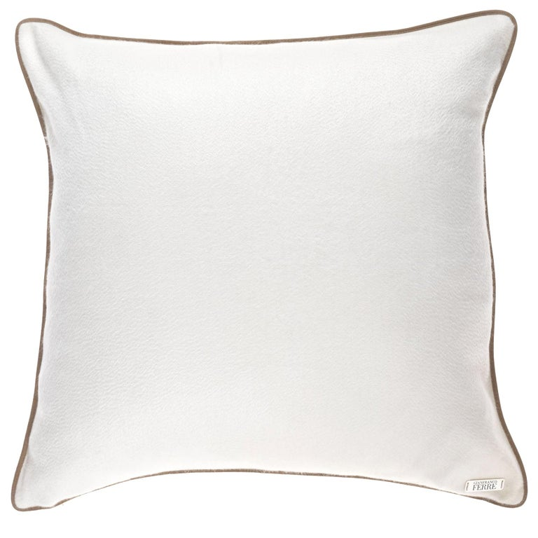 Gianfranco Ferré Tessa White Cushion in Cashmere For Sale