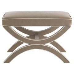 Gianfranco Ferré Todd Pouf in Wood with Leather Upholstery
