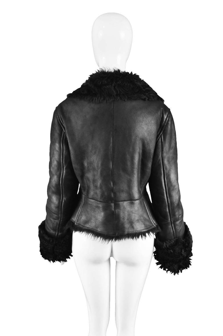 Gianfranco Ferre Vintage 1990s Black Leather And Shearling Women S