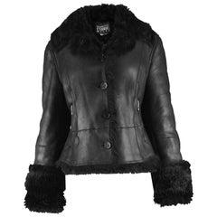 Gianfranco Ferre Vintage 1990s Black Leather & Shearling Women's Aviator Jacket