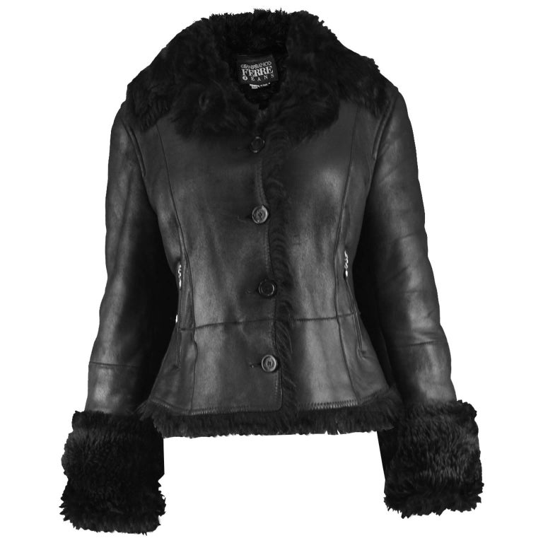 Gianfranco Ferre Vintage 1990s Black Leather & Shearling Women's Aviator Jacket