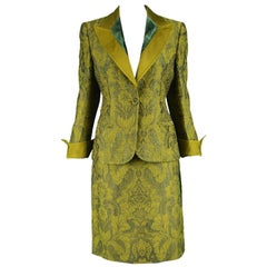 Gianfranco Ferre Vintage Green Brocade Velvet Grosgrain Skirt Suit, 1990s