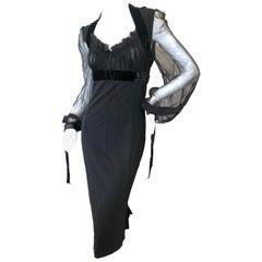 Gianfranco Ferre Vintage 80's Little Black Dress with Sheer Bishop Sleeves