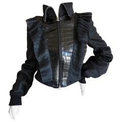 Gianfranco Ferre Vintage Black Ruffle Front Jacket with Faux  Alligator Details