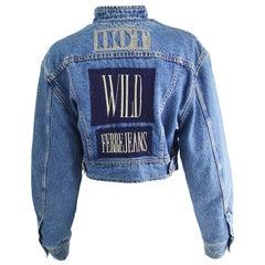 Gianfranco Ferré Vintage Cafe Racer Style Womens Blue Denim Jean Jacket, 1990s