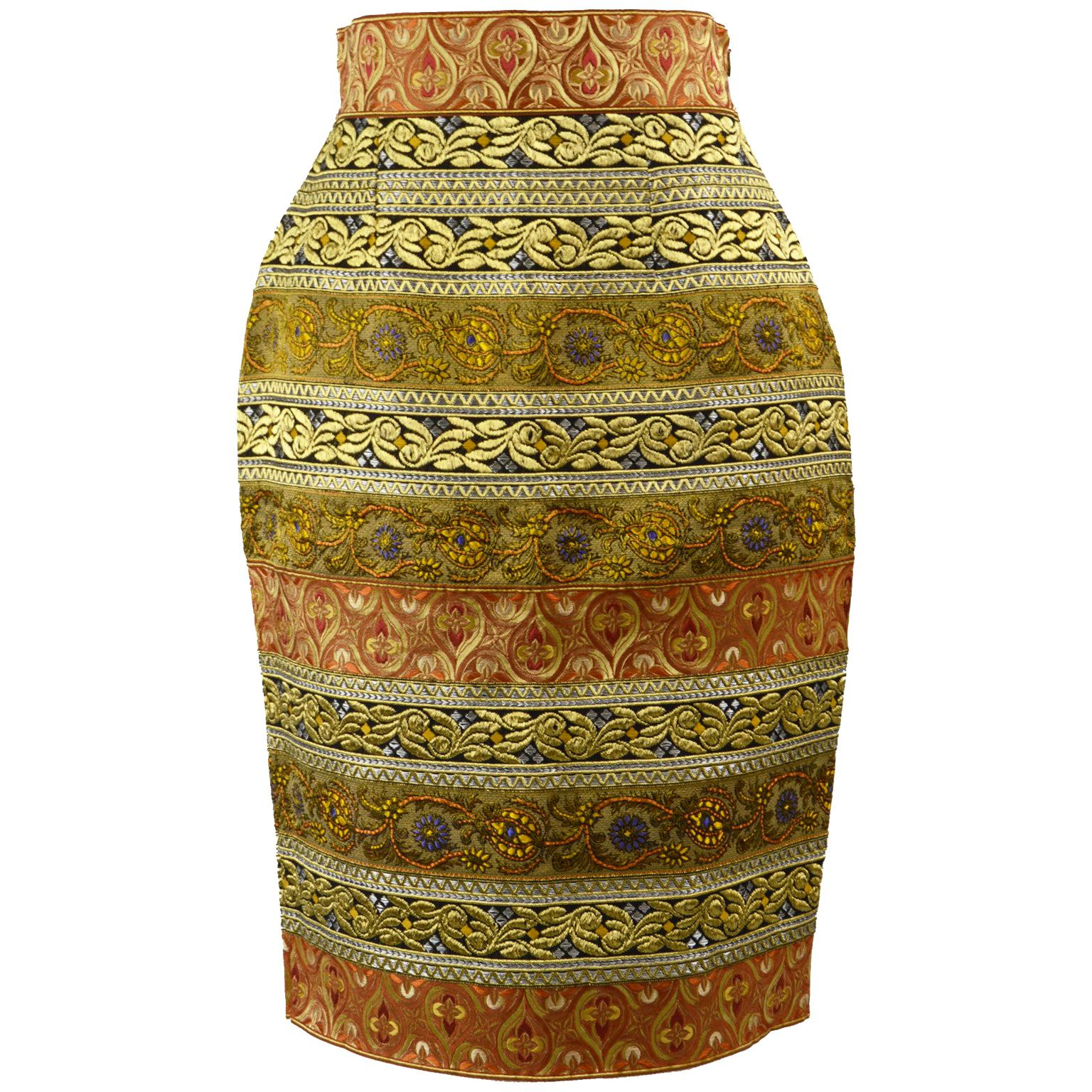 Gianfranco Ferre Vintage Embroidered Lame Brocade Pencil Skirt, A/W 1989