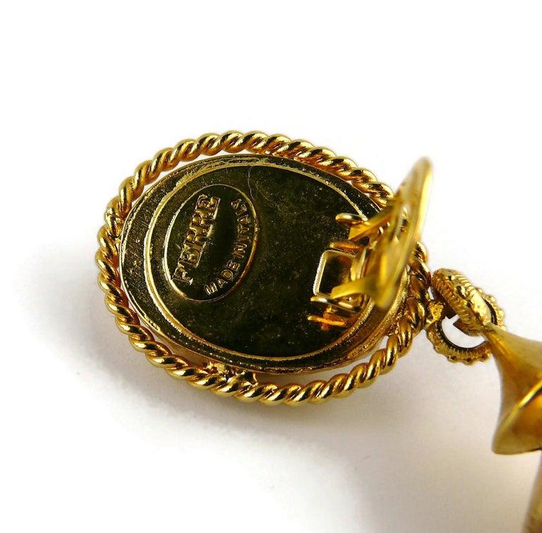 Gianfranco Ferre Vintage Gold Toned Jewelled Dangling Earrings For Sale 3