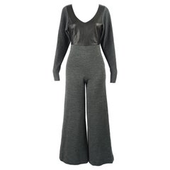 Gianfranco Ferré Vintage Grey Ribbed Wool Knit & Wide Leg Leather Jumpsuit