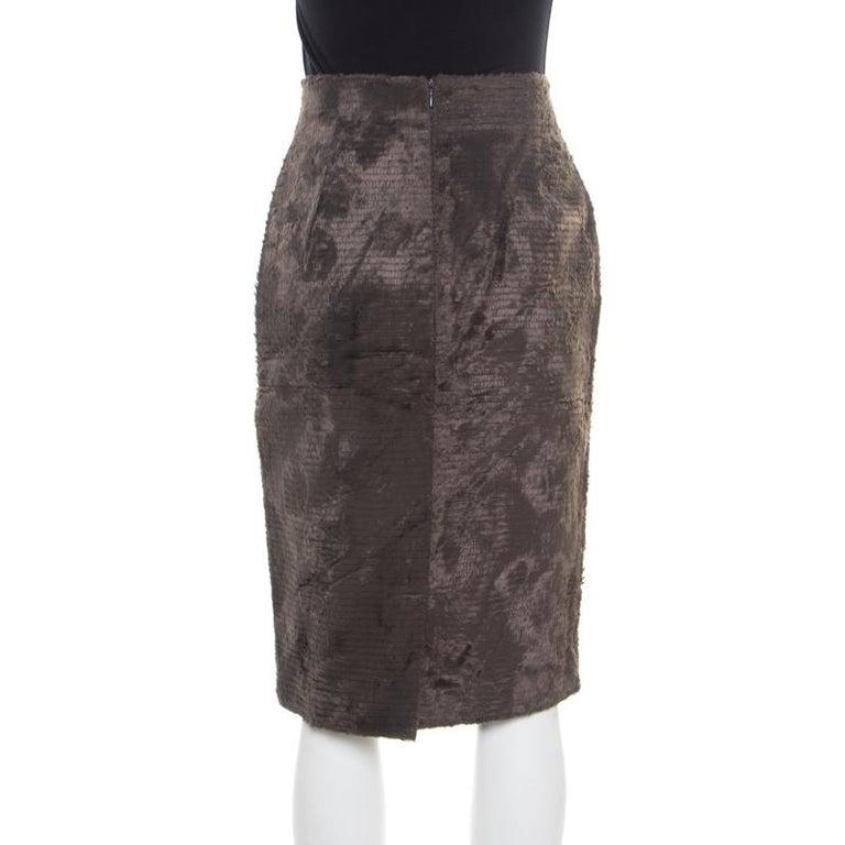 Black Gianfranco Ferre Vintage Grey Textured High Waist Pencil Skirt L For Sale