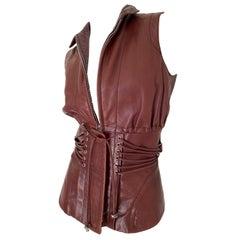 Gianfranco Ferre Vintage Lambskin Leather Moto Vest with Corset Lacing Details