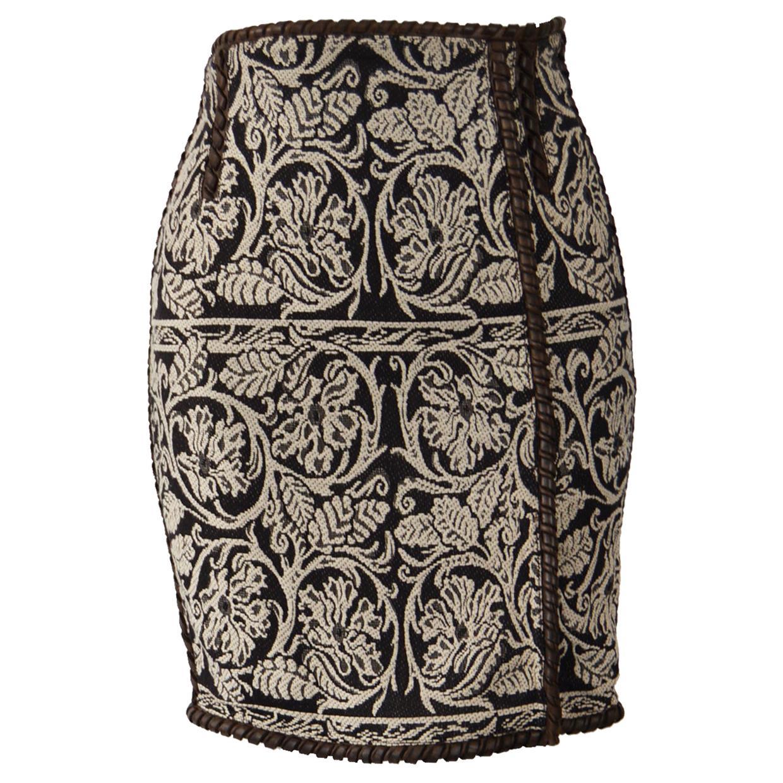 Gianfranco Ferre Vintage Leather & Tapestry Skirt