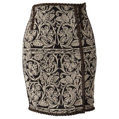 Gianfranco Ferre Vintage Leather & Tapestry Skirt