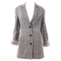 Gianfranco Ferre Vintage Longline Gray Plaid Wool Blazer W Fur Cuffs
