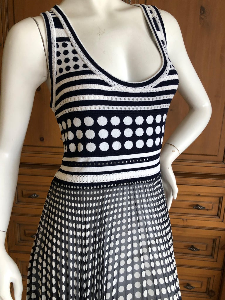 Gianfranco Ferre Vintage Op Art Polka Dot Dress with Pleated Asymmetrical Skirt In Excellent Condition For Sale In San Francisco, CA