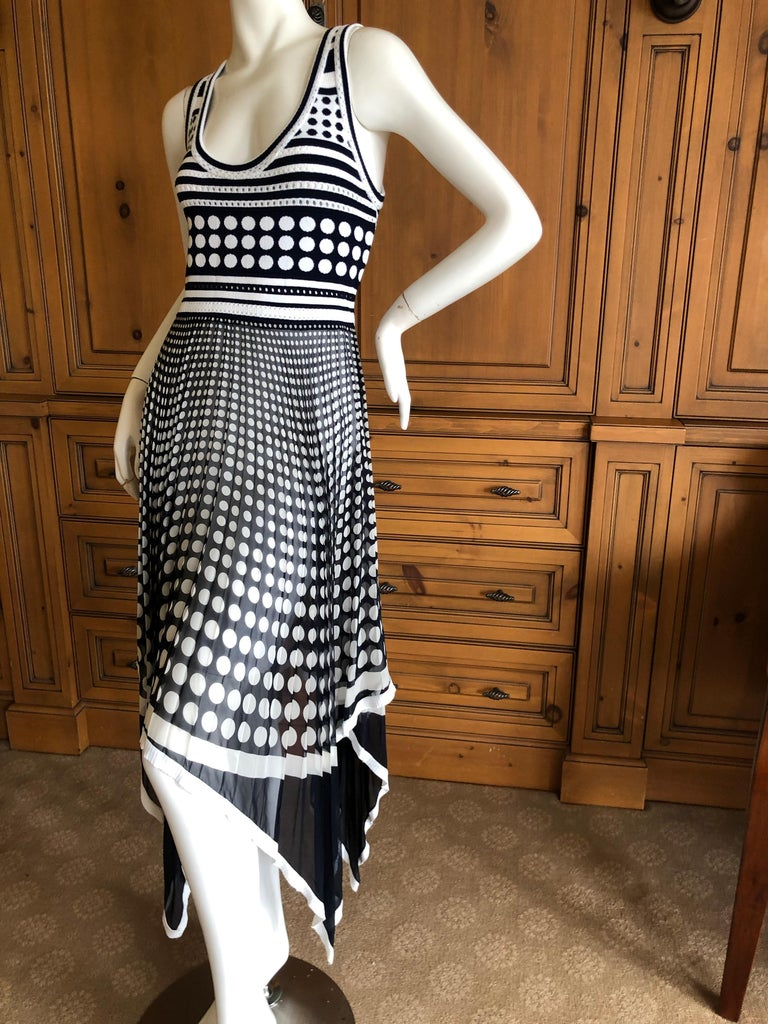 Gianfranco Ferre Vintage Op Art Polka Dot Dress with Pleated Asymmetrical Skirt For Sale 1