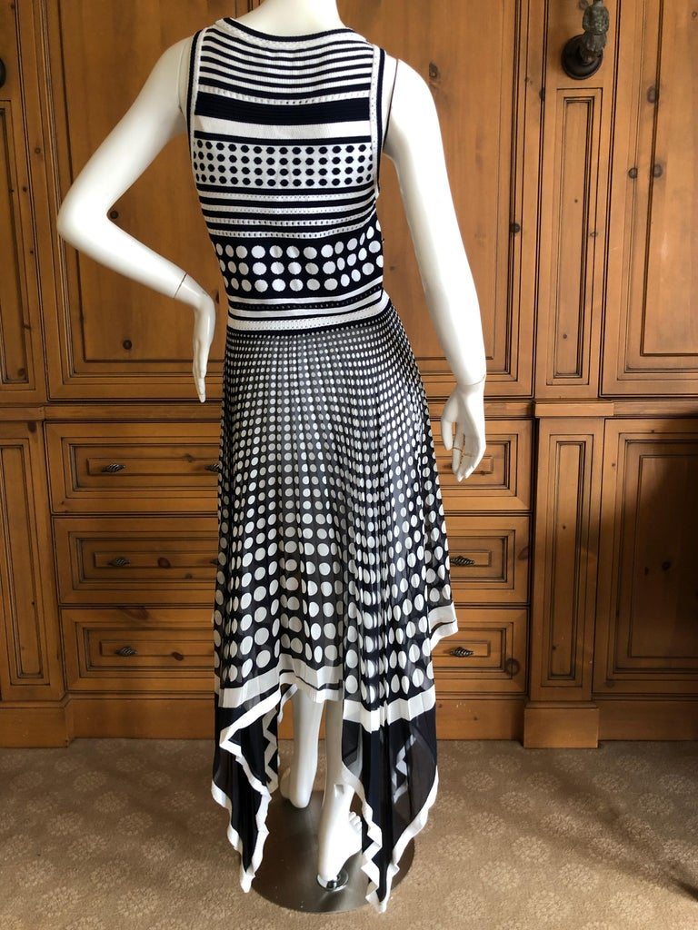 Gianfranco Ferre Vintage Op Art Polka Dot Dress with Pleated Asymmetrical Skirt For Sale 2