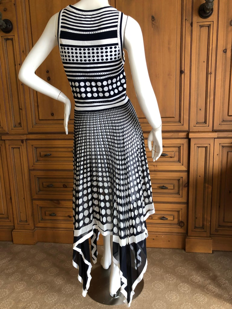 Gianfranco Ferre Vintage Op Art Polka Dot Dress with Pleated Asymmetrical Skirt For Sale 3