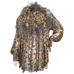 Gianfranco Ferre Vintage Sheer Pleated Leopard Print Silk Blouse and Scarf