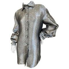 Gianfranco Ferre Vintage Shining Silver Silk Blouse w Crystal Bracelets Cuffs
