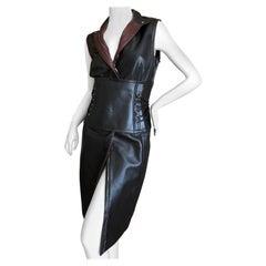 "Gianfranco Ferre Vintage Silk Lined Leather Dress w Wide Lace Up ""Obi"" Like Belt"
