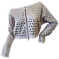 Gianfranco Ferre Vintage Silver Leather Cropped Jacket with Graduating Grommets