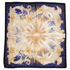 Gianfranco Ferre Vintage Sun and Stars Motif Silk Square Summer Neckerchief