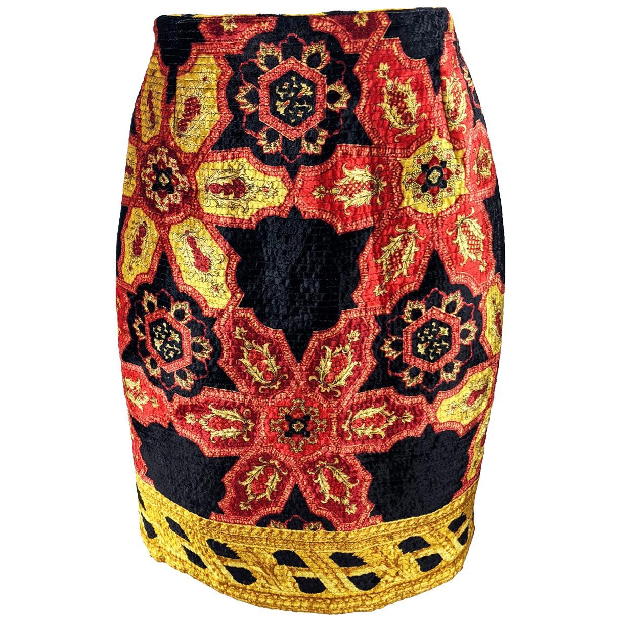 Gianfranco Ferre Vintage Velvet Printed Skirt