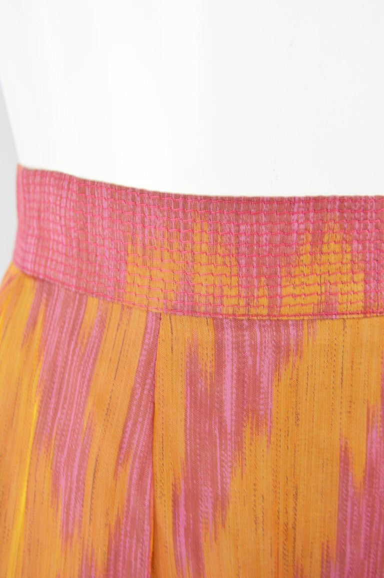 Gianfranco Ferre Vintage Woven Leather & Silk Pink Mini Peplum Skirt, 1990s In Excellent Condition For Sale In Doncaster, South Yorkshire