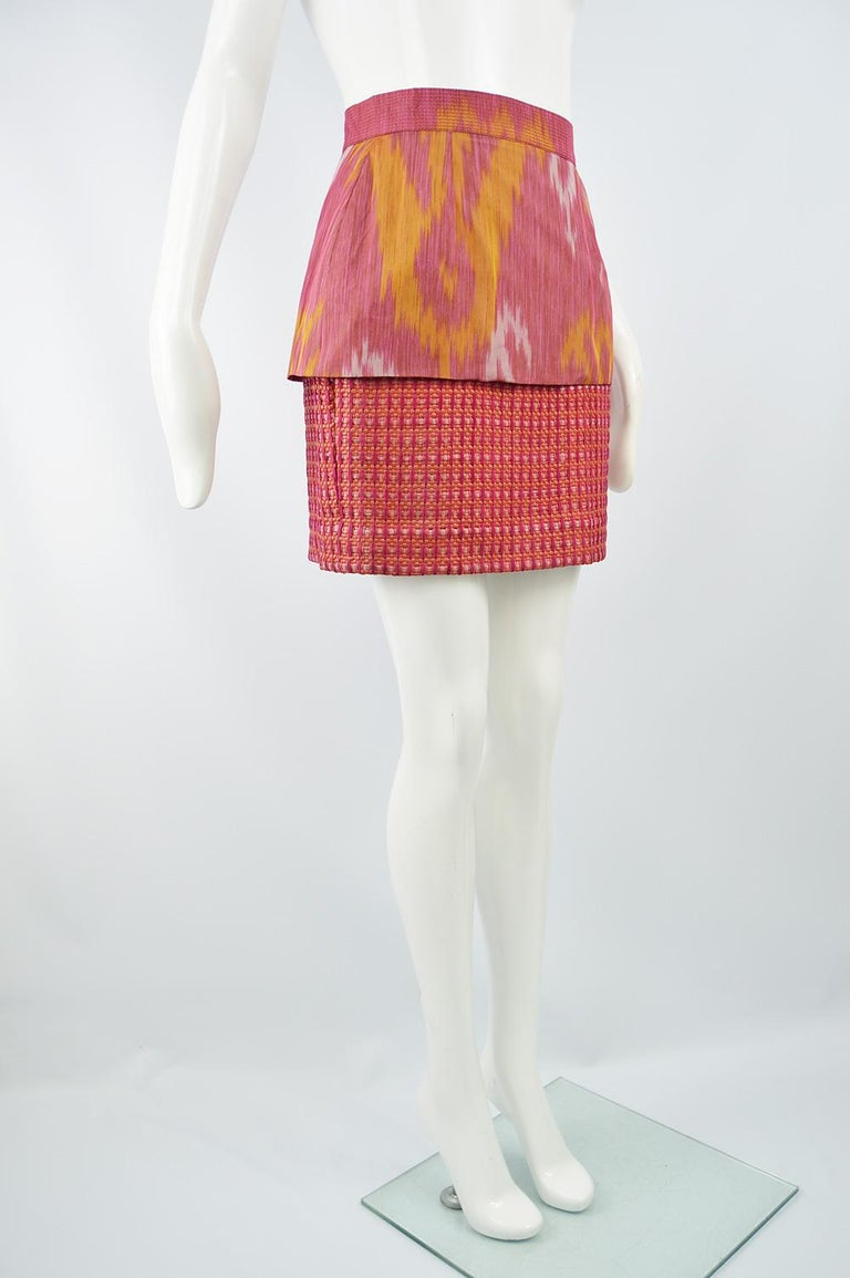 Women's Gianfranco Ferre Vintage Woven Leather & Silk Pink Mini Peplum Skirt, 1990s For Sale