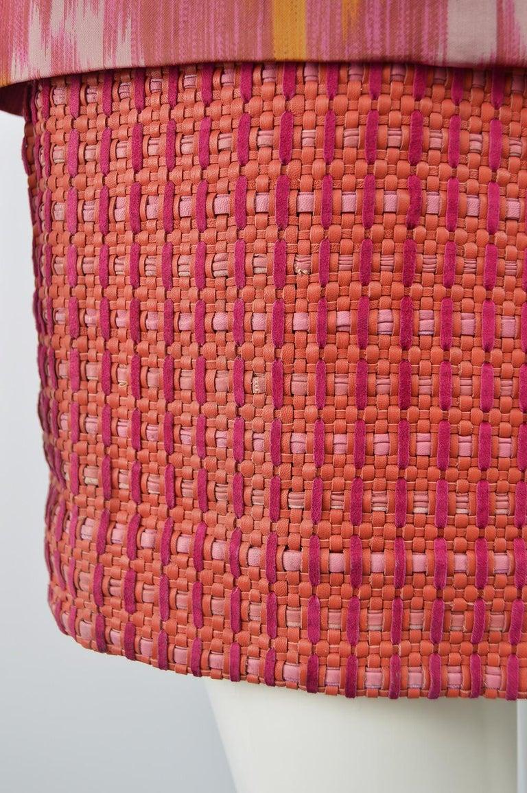 Gianfranco Ferre Vintage Woven Leather & Silk Pink Mini Peplum Skirt, 1990s For Sale 1