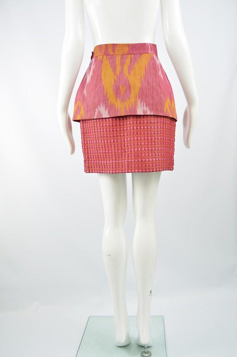 Gianfranco Ferre Vintage Woven Leather & Silk Pink Mini Peplum Skirt, 1990s For Sale 2