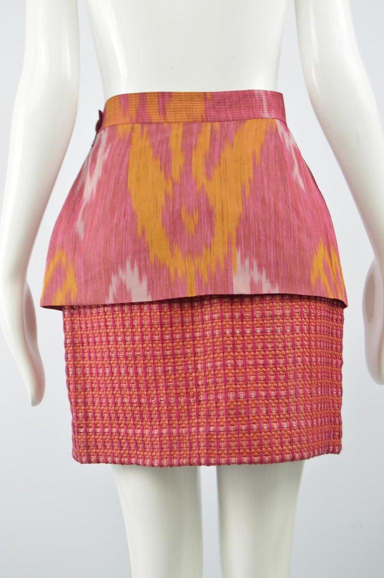 Gianfranco Ferre Vintage Woven Leather & Silk Pink Mini Peplum Skirt, 1990s For Sale 3