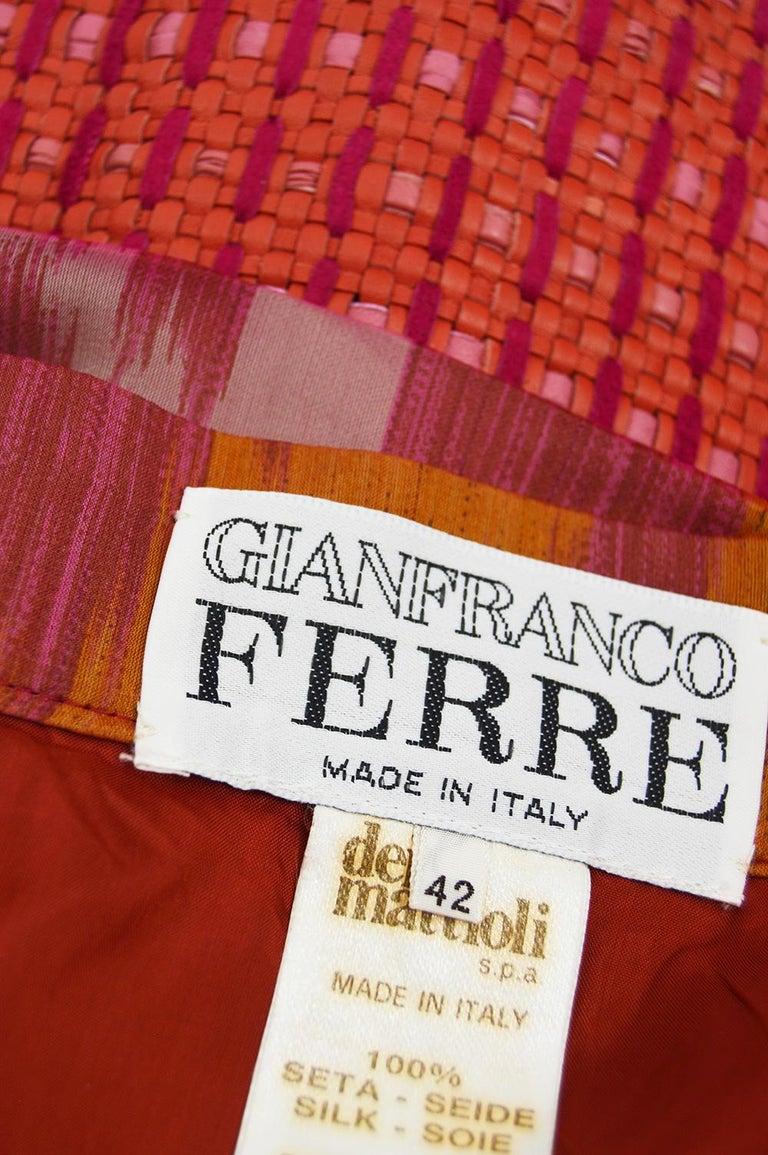 Gianfranco Ferre Vintage Woven Leather & Silk Pink Mini Peplum Skirt, 1990s For Sale 4